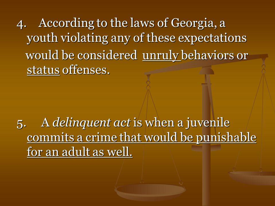 4. According to the laws of Georgia, a youth violating any of these expectations
