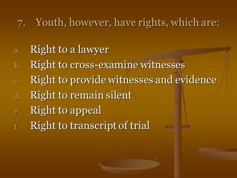 7. Youth, however, have rights, which are: