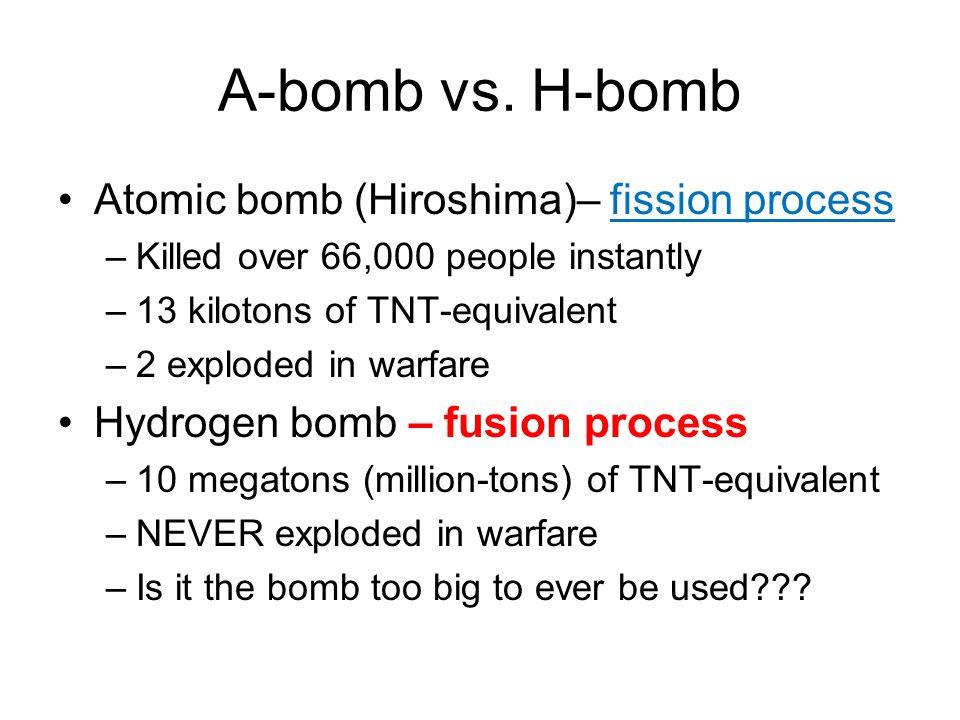 A-bomb vs. H-bomb Atomic bomb (Hiroshima)– fission process