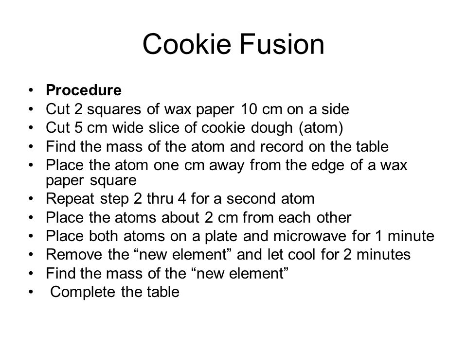 Cookie Fusion Procedure Cut 2 squares of wax paper 10 cm on a side