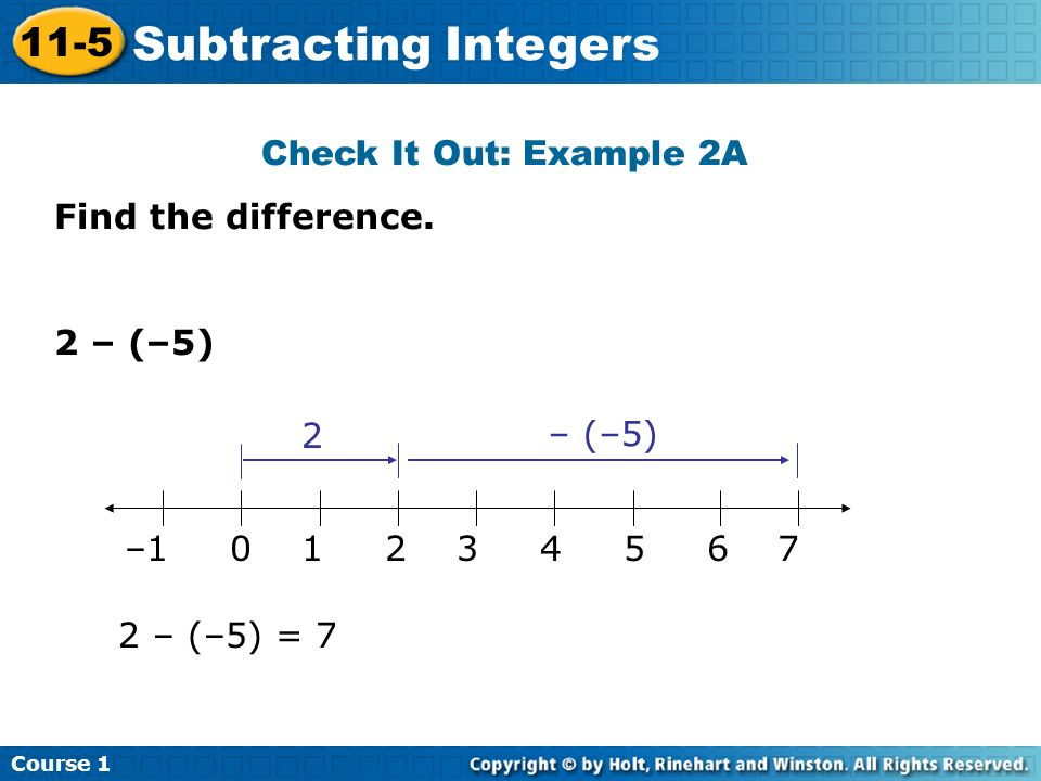 Subtracting Integers 11-5 Check It Out: Example 2A