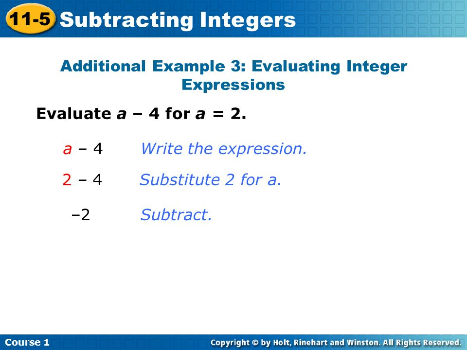 Additional Example 3: Evaluating Integer Expressions