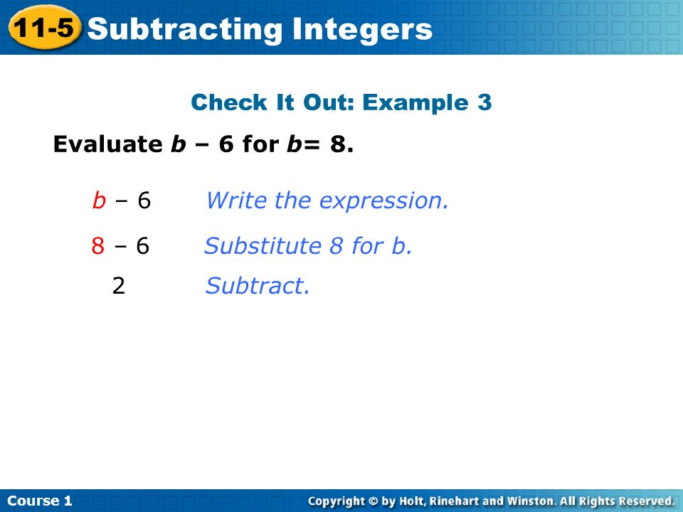 Subtracting Integers 11-5 Check It Out: Example 3