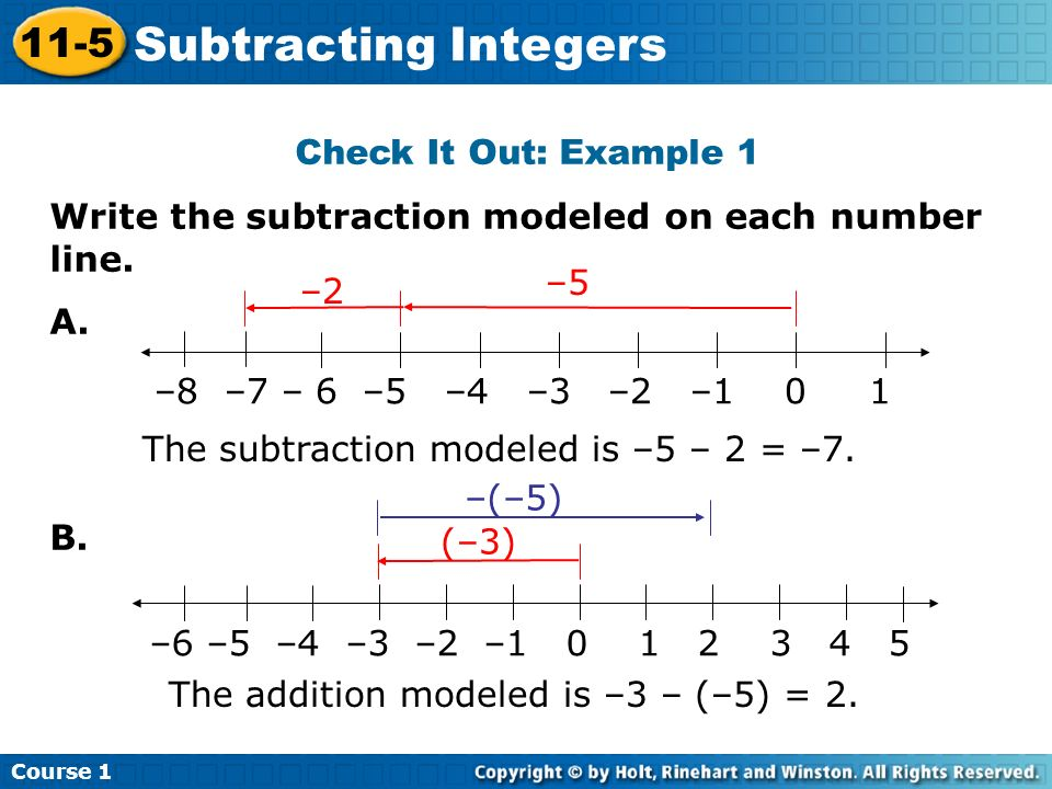 Subtracting Integers 11-5 Check It Out: Example 1