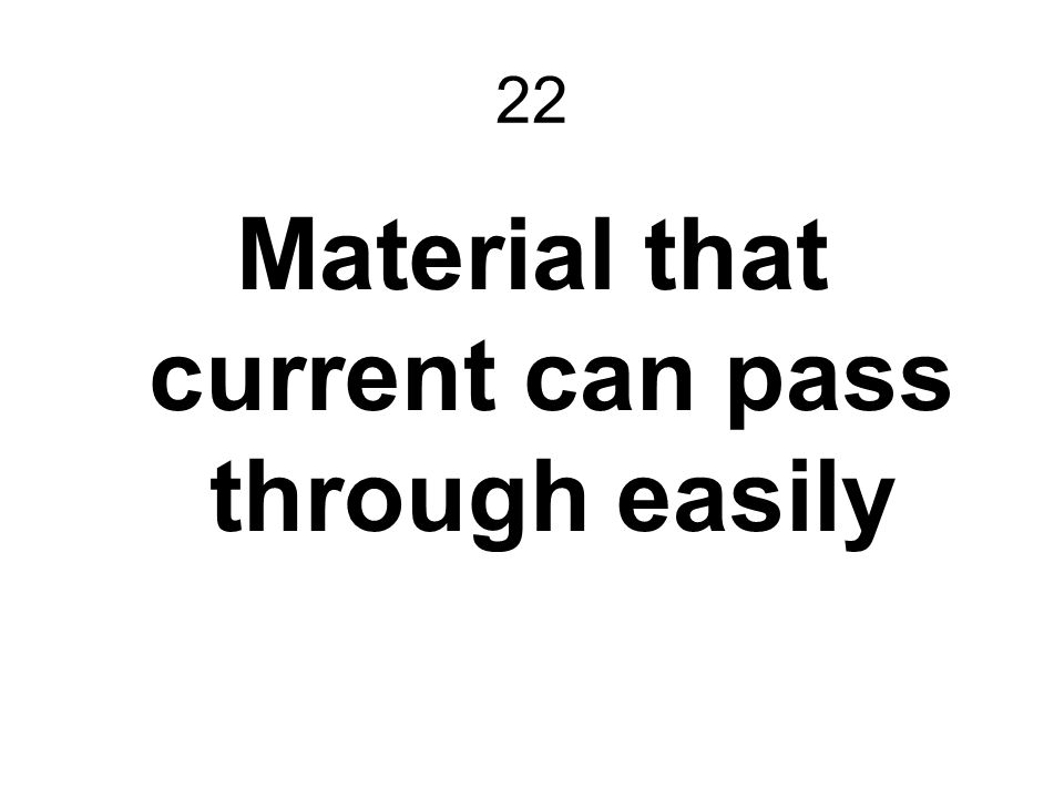 Material that current can pass through easily
