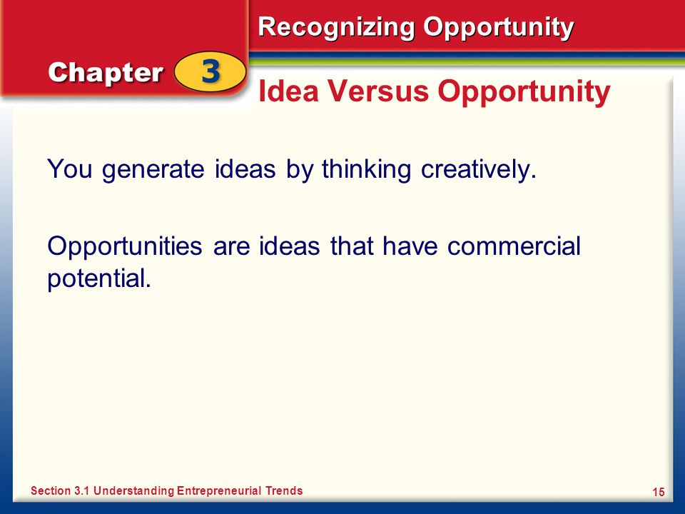 Idea Versus Opportunity