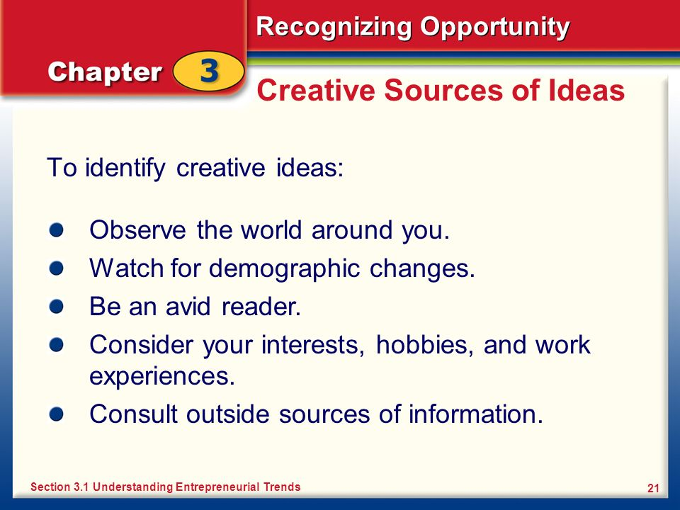 Creative Sources of Ideas