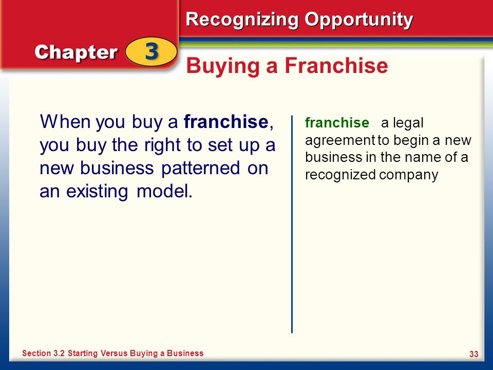 Buying a Franchise When you buy a franchise, you buy the right to set up a new business patterned on an existing model.