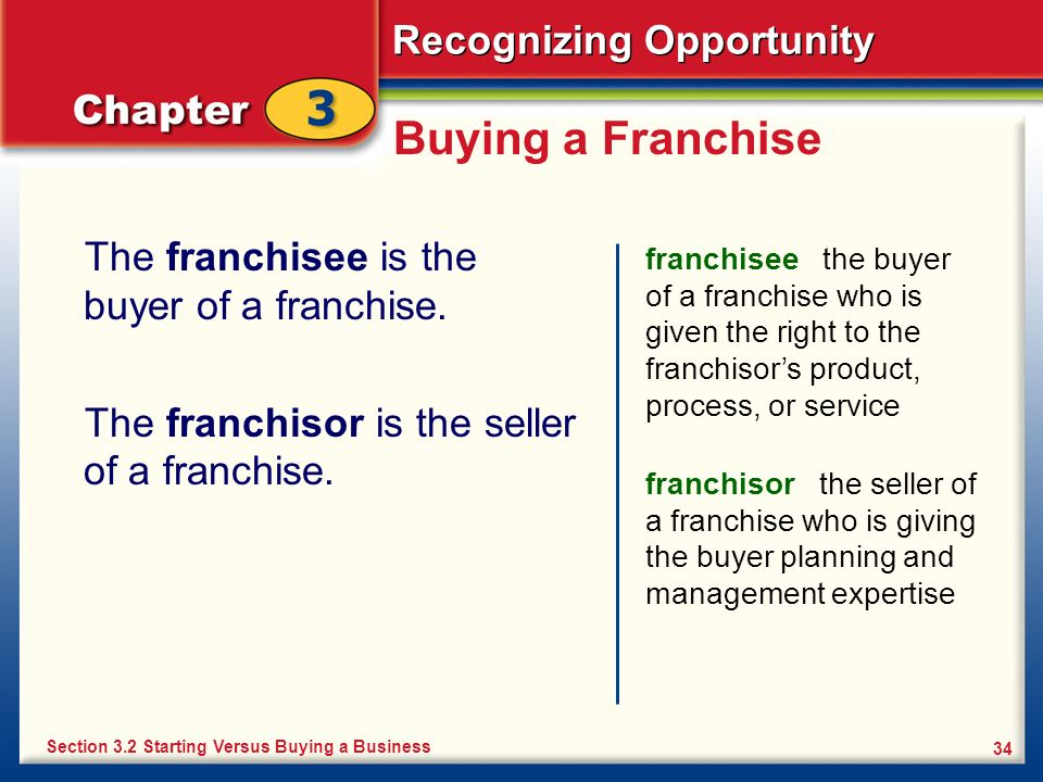 Buying a Franchise The franchisee is the buyer of a franchise.