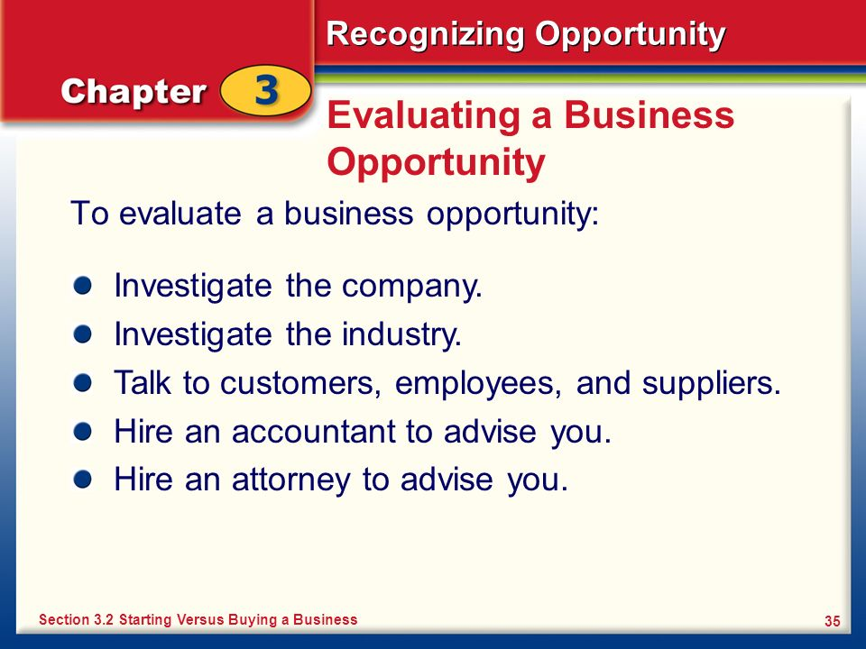 Evaluating a Business Opportunity