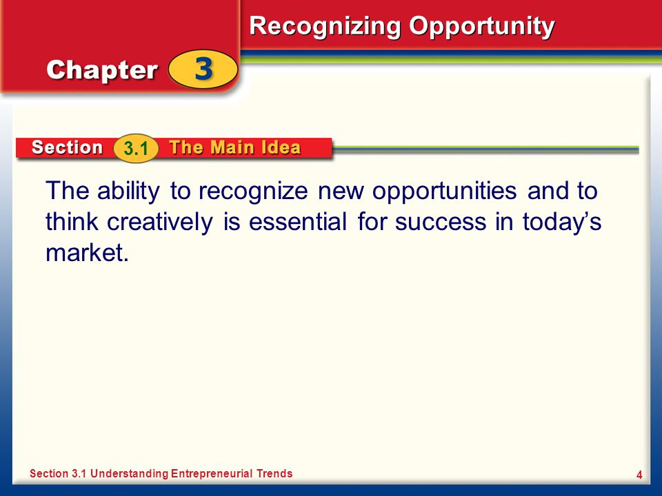 3.1 The ability to recognize new opportunities and to think creatively is essential for success in today's market.
