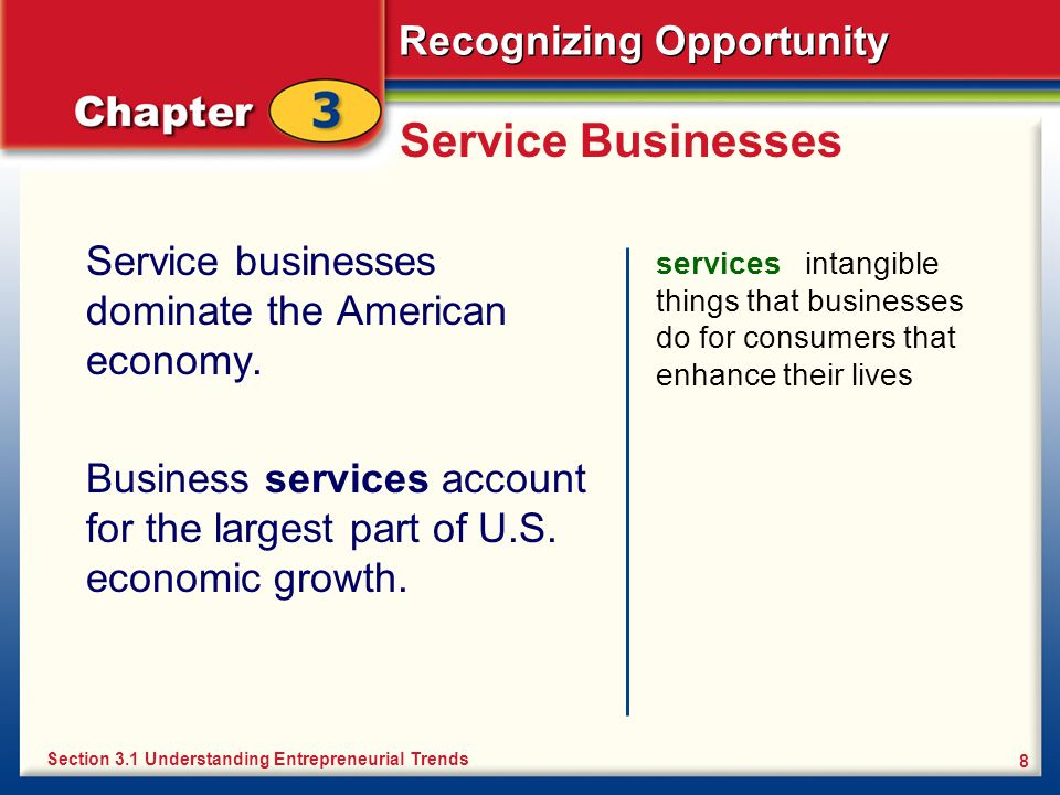 Service Businesses Service businesses dominate the American economy.