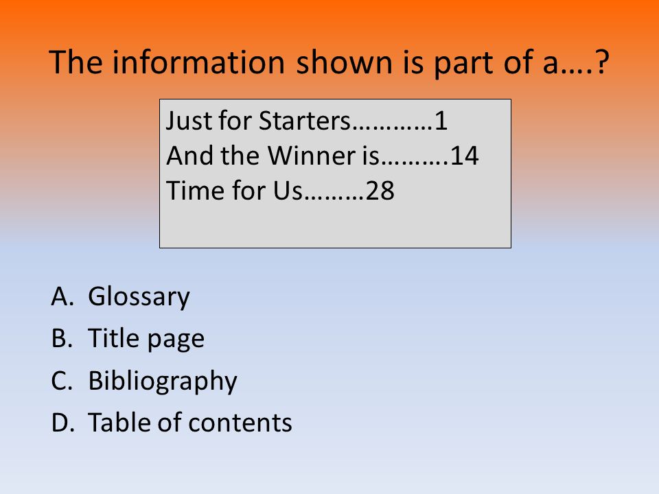 The information shown is part of a….