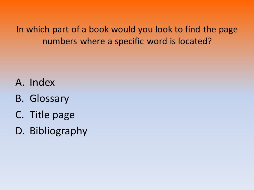 Index Glossary Title page Bibliography