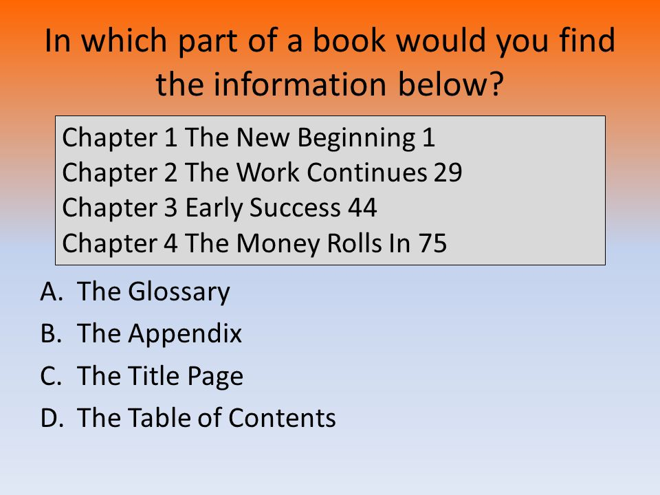 In which part of a book would you find the information below