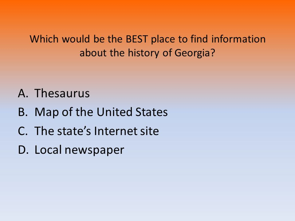 Map of the United States The state's Internet site Local newspaper