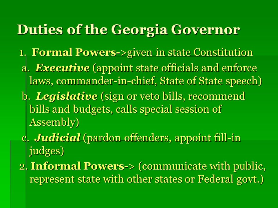 Duties of the Georgia Governor