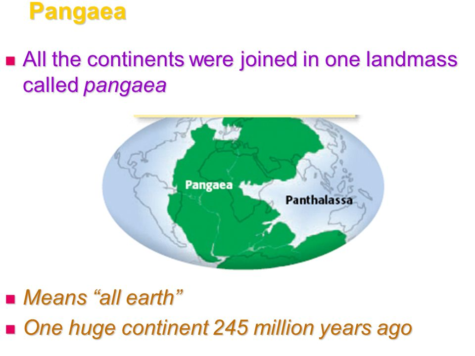 Pangaea All the continents were joined in one landmass called pangaea