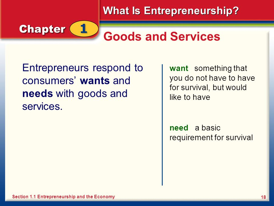 Goods and Services Entrepreneurs respond to consumers' wants and needs with goods and services.