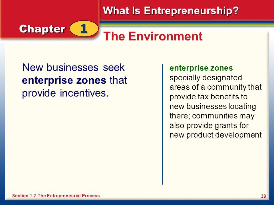 The Environment New businesses seek enterprise zones that provide incentives.