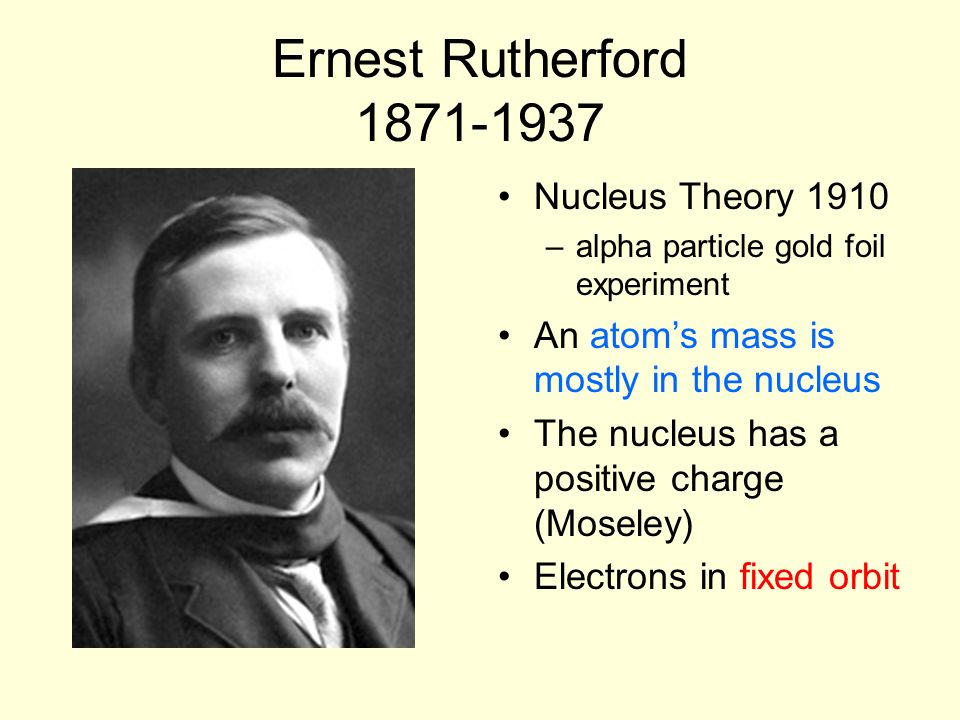 Ernest Rutherford 1871-1937 Nucleus Theory 1910