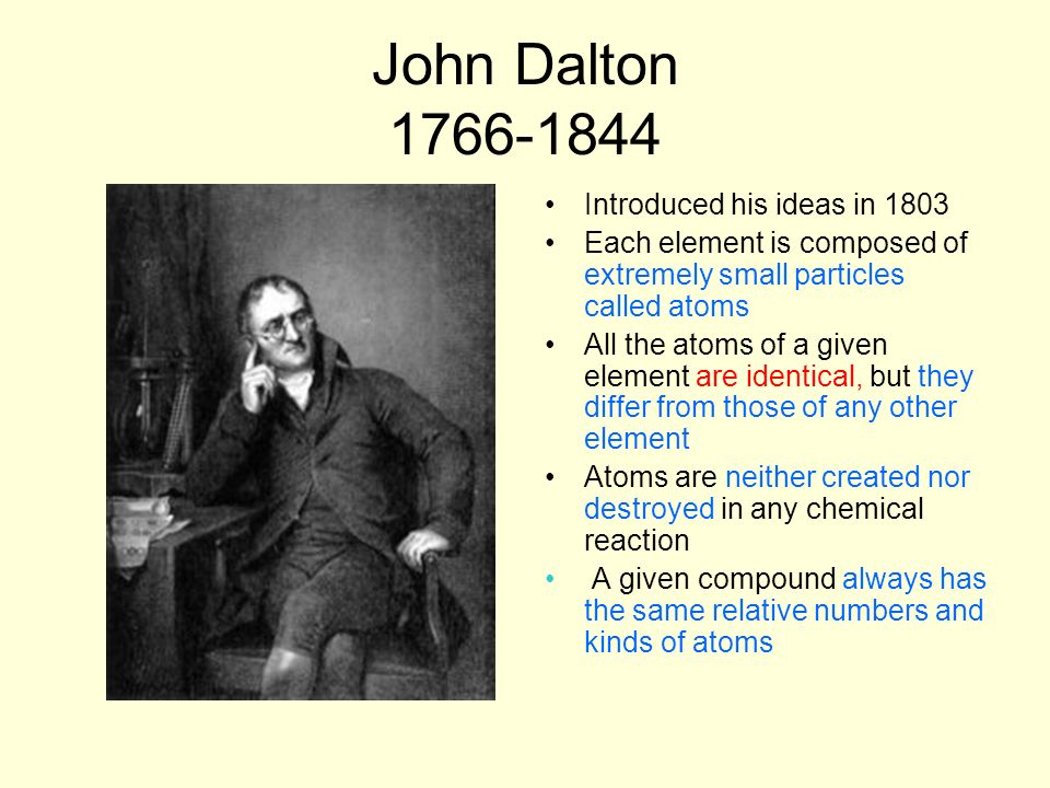 John Dalton 1766-1844 Introduced his ideas in 1803