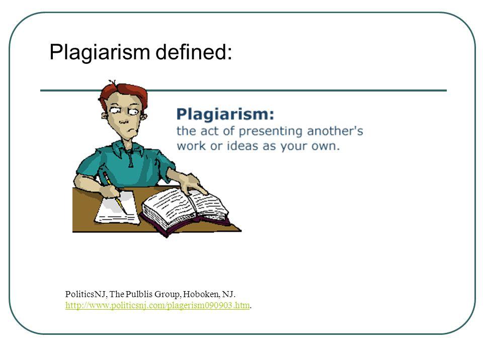 Plagiarism defined: PoliticsNJ, The Pulblis Group, Hoboken, NJ.