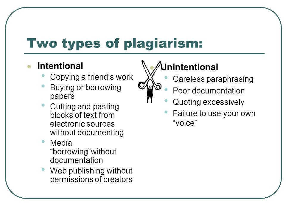 Two types of plagiarism: