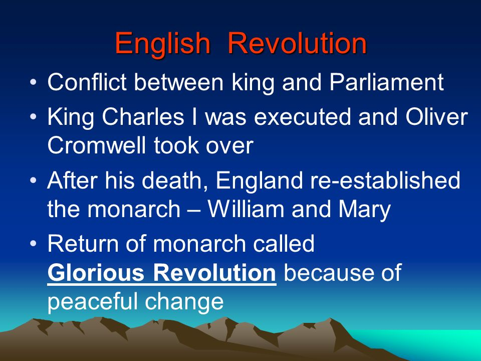 English Revolution Conflict between king and Parliament