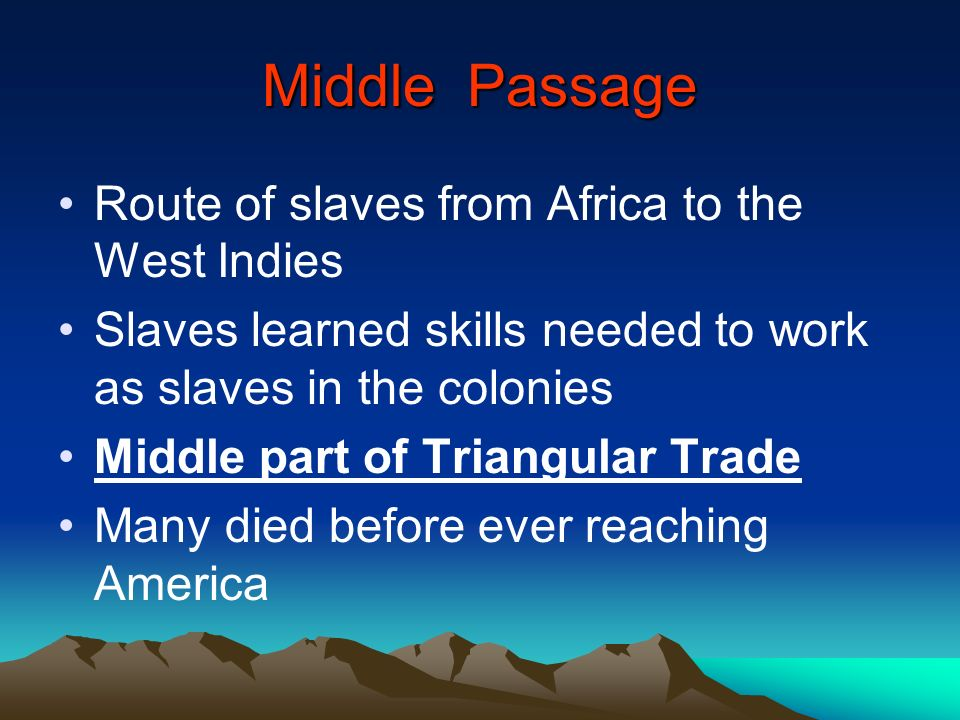 Middle Passage Route of slaves from Africa to the West Indies