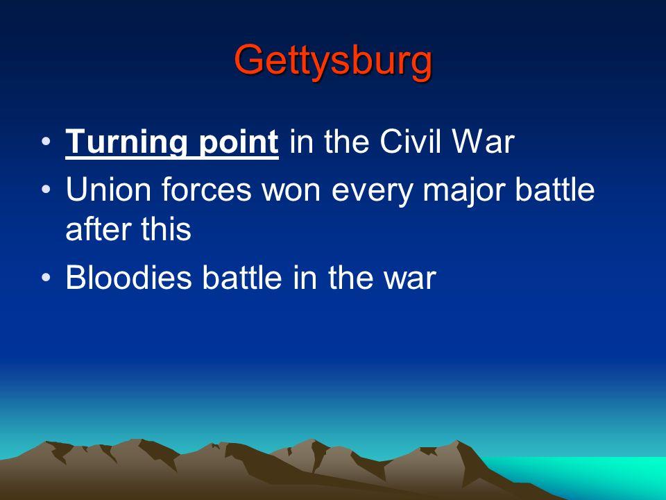 Gettysburg Turning point in the Civil War