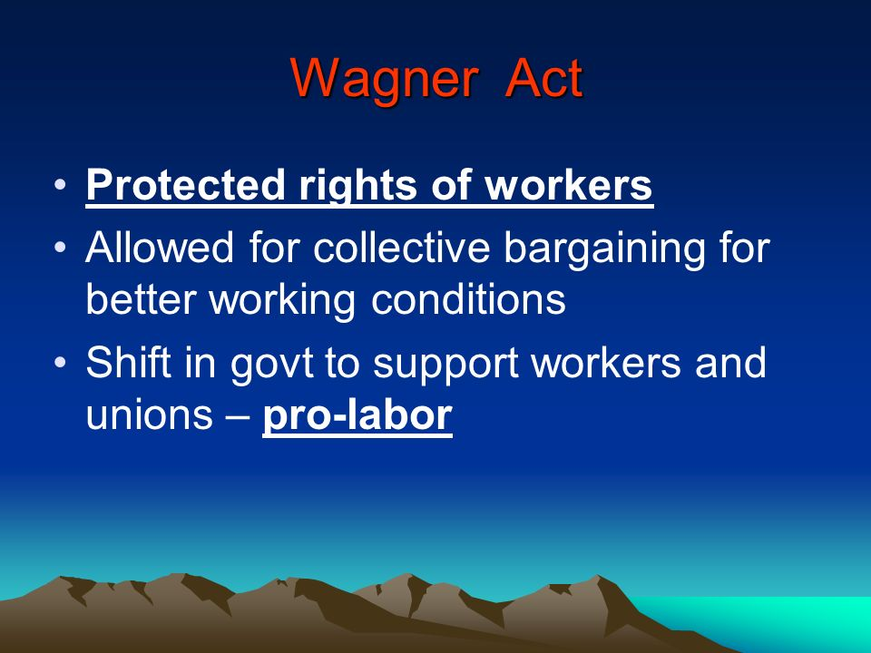 Wagner Act Protected rights of workers