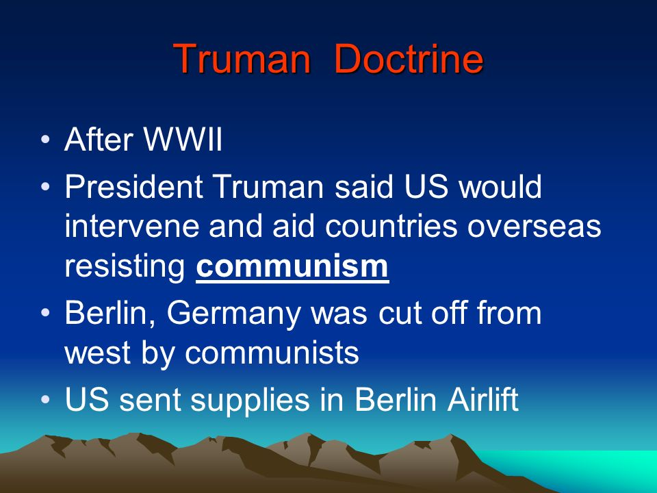 Truman Doctrine After WWII