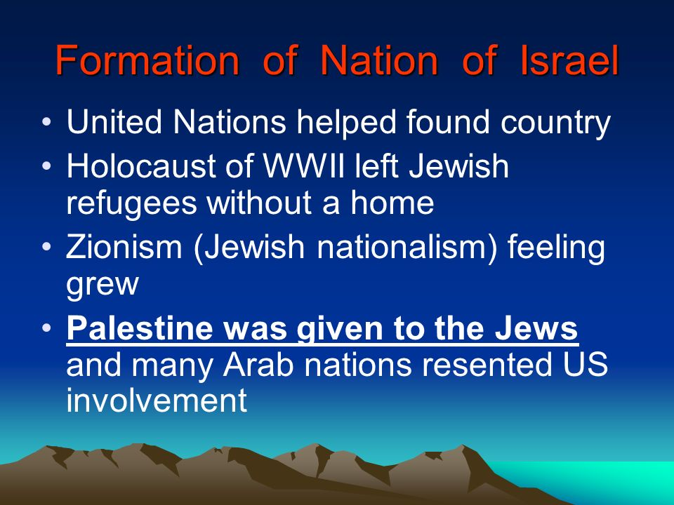 Formation of Nation of Israel