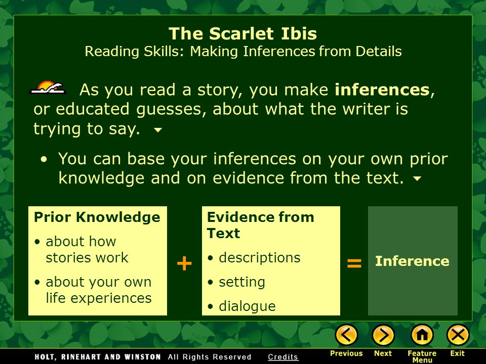 The Scarlet Ibis Reading Skills: Making Inferences from Details