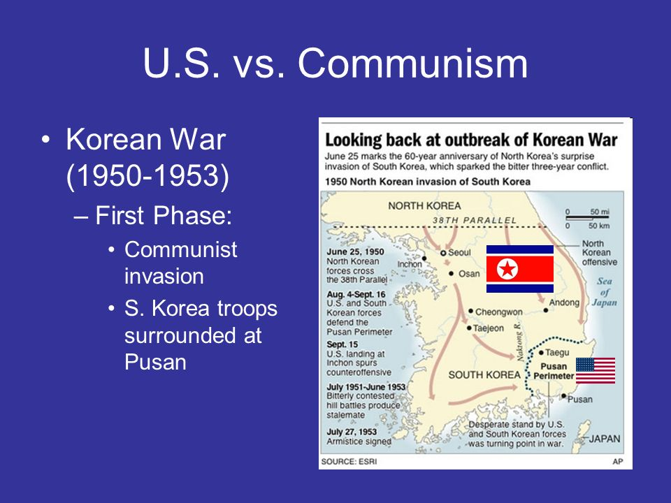 U.S. vs. Communism Korean War (1950-1953) First Phase: