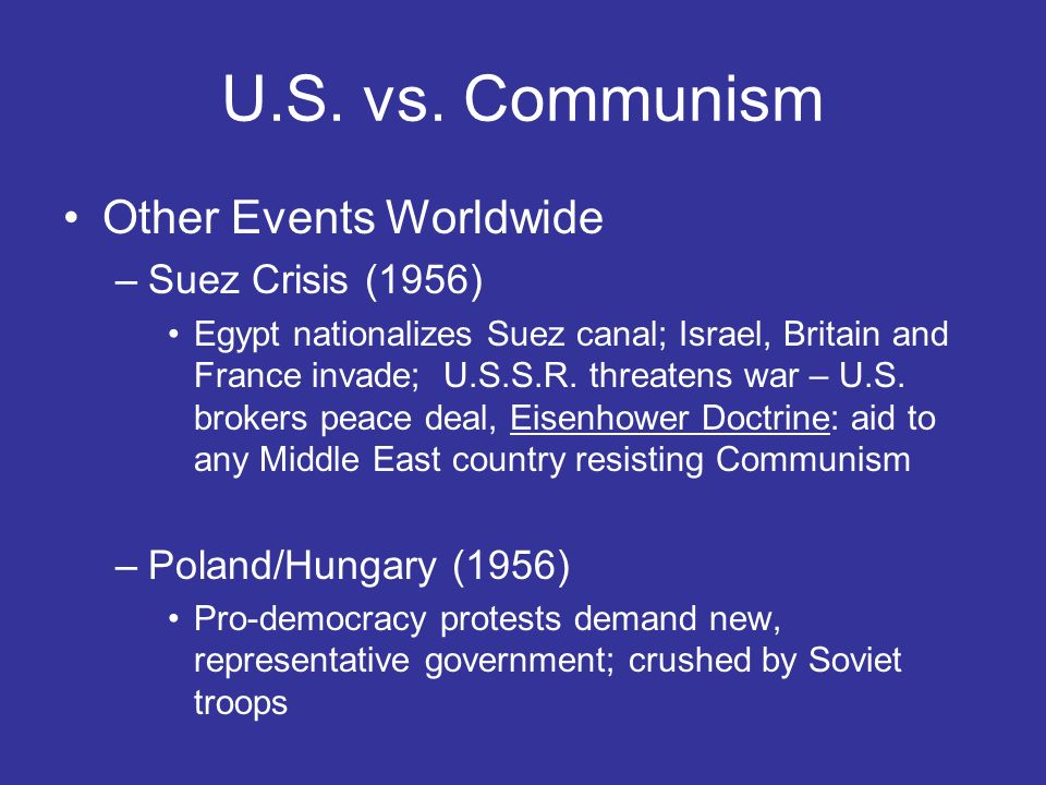 U.S. vs. Communism Other Events Worldwide Suez Crisis (1956)