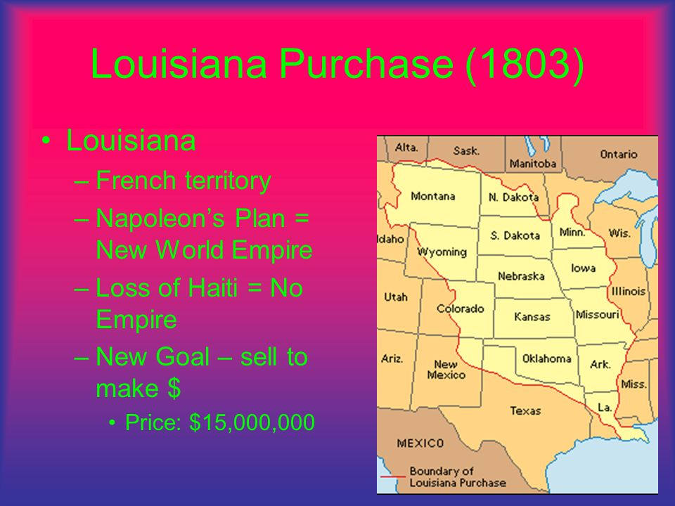 Louisiana Purchase (1803) Louisiana French territory