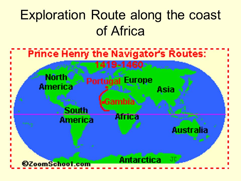 Exploration Route along the coast of Africa