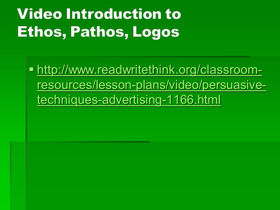 Video Introduction to Ethos, Pathos, Logos