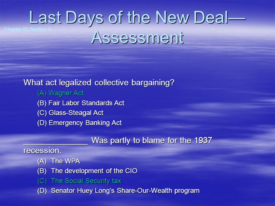 Last Days of the New Deal—Assessment