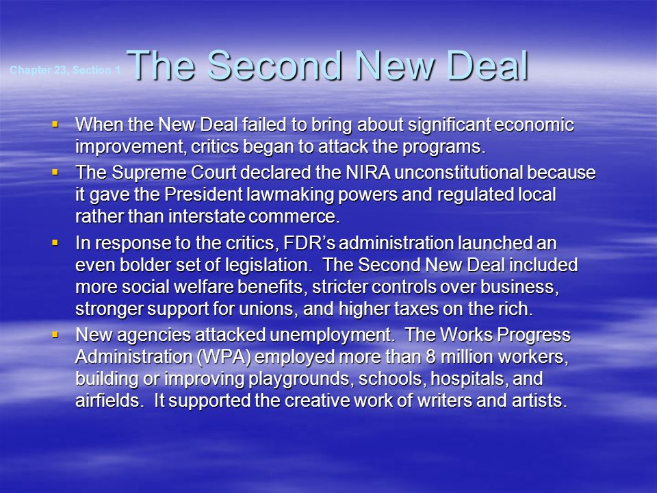 The Second New Deal Chapter 23, Section 1.