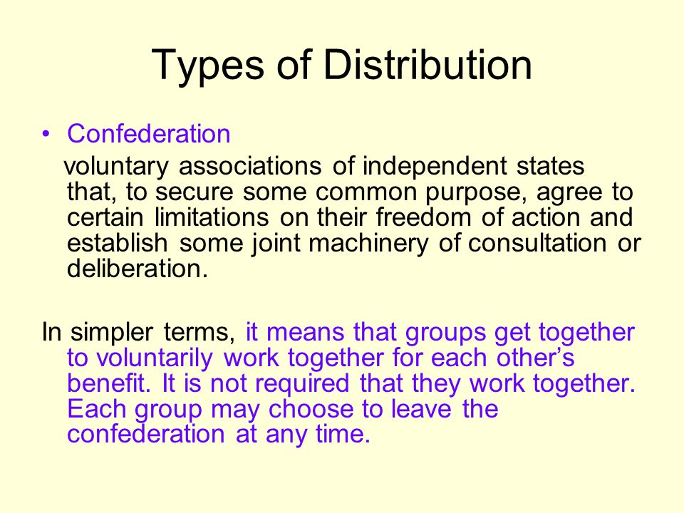 Types of Distribution Confederation