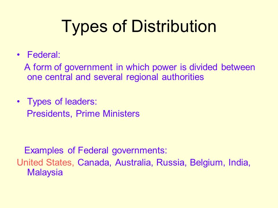 Types of Distribution Federal: