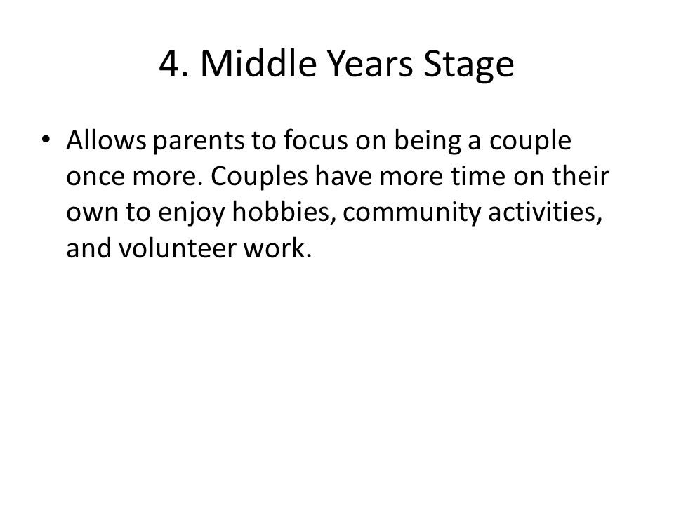 4. Middle Years Stage