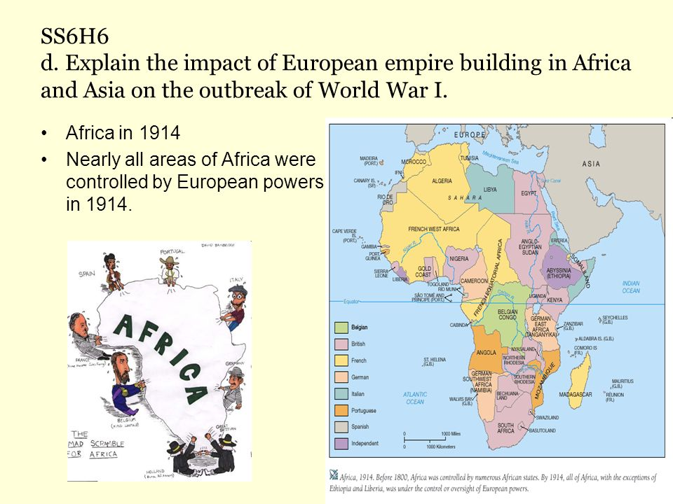 SS6H6 d. Explain the impact of European empire building in Africa and Asia on the outbreak of World War I.