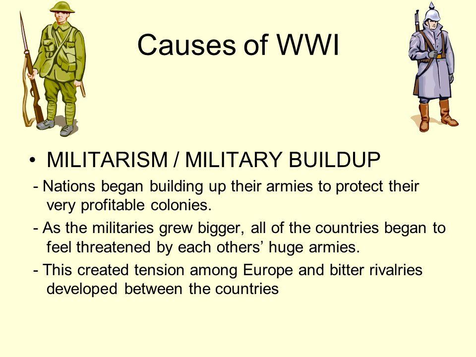 Causes of WWI MILITARISM / MILITARY BUILDUP
