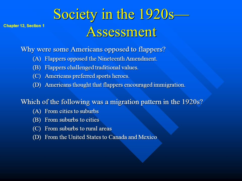 Society in the 1920s—Assessment