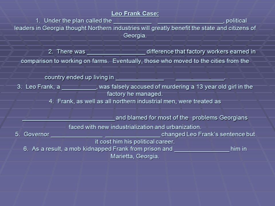 Leo Frank Case: 1.