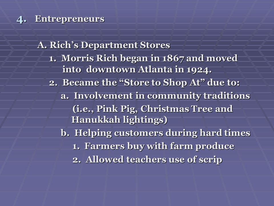 Entrepreneurs A. Rich's Department Stores. 1. Morris Rich began in 1867 and moved into downtown Atlanta in 1924.
